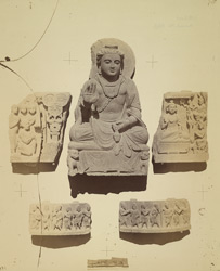 Group of Buddhist sculptures from the upper monastery at Nutta, Peshawar District 10031109